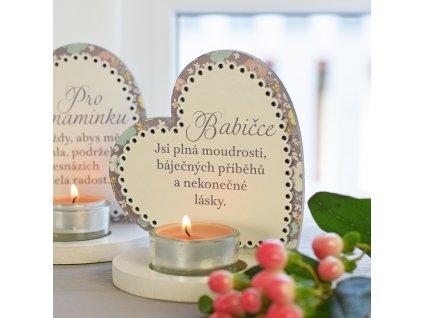 Květinové srdce svícen - pro babičku - svícen