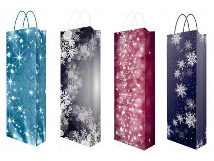 Dárkové tašky na víno - 4 designy černo-bílá Barva