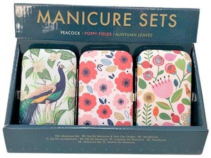 Manikurní set - 3 designy s květem barva
