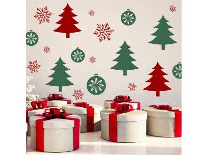 Vánoční les - samolepka na zeď