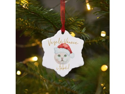 Keramická ozdoba - Kočička bílá