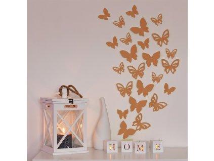 3D motýl - bronzová perleť 2 kompletní sety (16 ks motýlů) Set