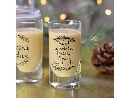 """Panáková sklenice - """"Protože Vánoce jsou dlouhé."""""""