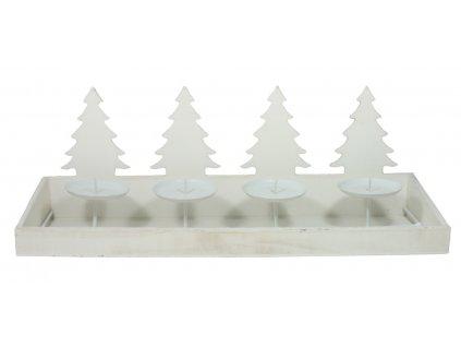 Adventní svícen dřevěný - stromky v řadě - bílý