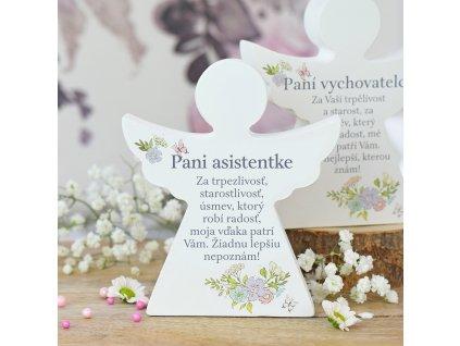 Dárkový anděl - Paní asistentce (s květinami) SK