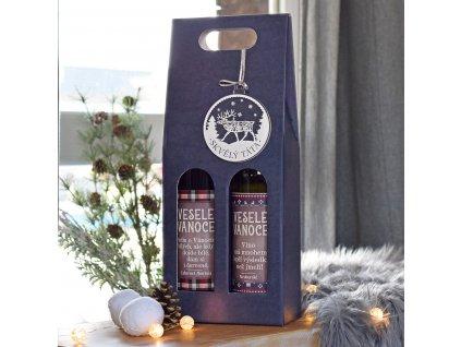 Vánoční dárková sada 2 vína s ozdobou (TÁTA)
