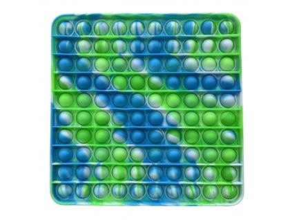 Pop It antistresová hračka čtverec zelenomodrý JUMBO 20 cm