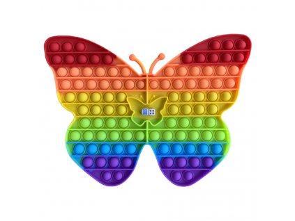 Pop It rainbow Desková antistresová hračka Motýl JUMBO XXL 30 cm