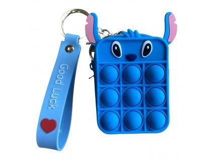 Pop It antistresová hračka peněženka modrá Stitch 8,5 cm