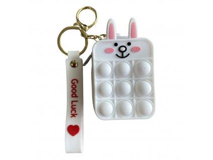 Pop It antistresová hračka peněženka bílá králík 8,5 cm