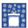 Stříbrná Vánoční samolepka na sklo - Dárek a hvězdičky