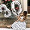 Nafukovací balónky čísla maxi stříbrné - 2