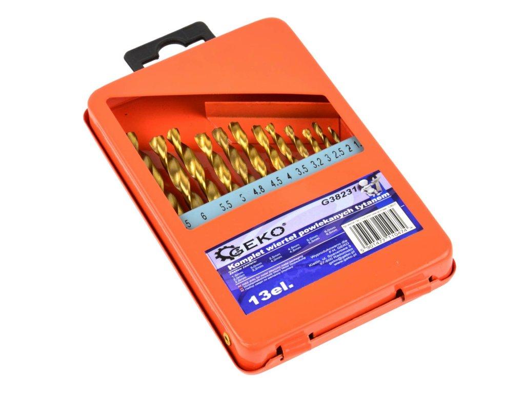 Sada titánových vrtákov HSS do kovu 13ks 1,5mm – 6,5mm