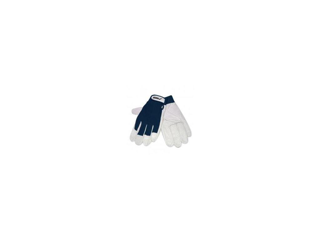 Ochranné rukavice, kozia koža, veľ. 9, tmavomodré