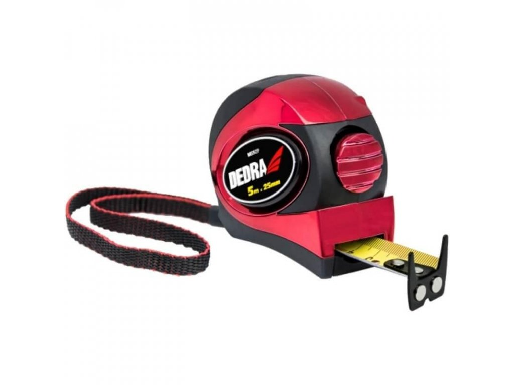 Meter 3m/16mm, červený, auto-blokáda, magnet, dvojstranná páska, pogumovaný kryt + chróm, nylon, blistr