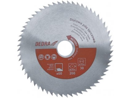 Oceľový kotúč pílový na drevo 350/60/30 DEDRA