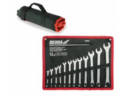 Sada očko-vidlicových  kľúčov 12 ks  CrV  6-14, 17, 19, 22 mm v puzdre - 1405S