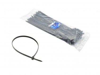 Čierne nylonové spony - 380x4,8 mm UV čipy 100 ks (100)