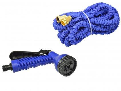 Záhradná hadica úsek stretch 7,5 m - 22,5 m PREMIUM (dvojité opletenie) kovové kovania + pištoľ (24)