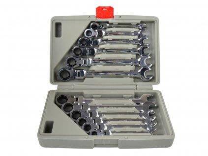 Uťahovák na kľúče so zlomenou rohatkou 8-19 mm 12 ks / kufrík / (8)
