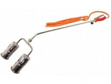 Dvojitý plynový opaľovací horák PB + hadica, VERKE V07454