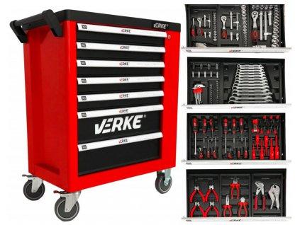 Montážny vozík s náradím 7 zásuviek so skrinkou 142ks