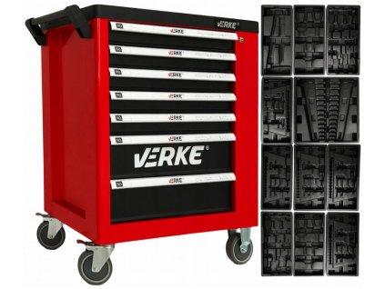 Montážny vozík 7 zásuviek so skrinkou s vložkami