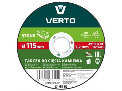 Rezací kotúč na kameň, 115 x 3,2 x 22.2 mm VERTO  61H515