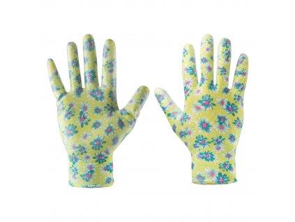 """Záhradné rukavice, potiahnuté nitrilom, kvetinový vzor, veľkosť 8 """" VERTO  97H141"""