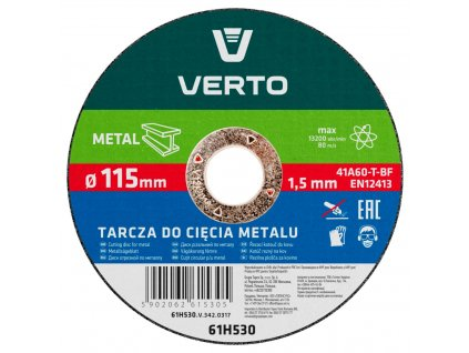 Rezací kotúč na kov T41, 115 x 1,5 x 22 mm VERTO  61H530