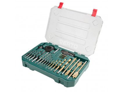 Drill and bits set, 49 pcs, hole saws VERTO  66H650