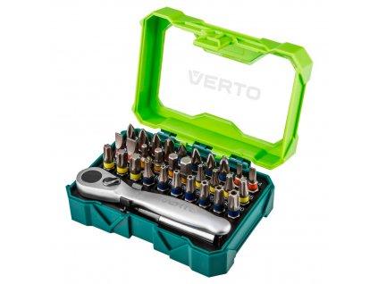 Set šrobovákov 32 kusov., 25 mm -  4 x PH, 4 x PZ, 4 x SL, 4 x HEX, 7 x TX, 7 x TT + ratchet handle for bits VERTO  66H622