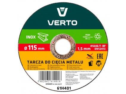 Rezací kotúč na kov, 115 x 1,5 x 22.2 mm VERTO  61H401