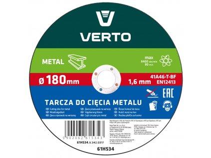 Rezací kotúč na kov T41, 180 x 1,5 x 22 mm VERTO  61H534