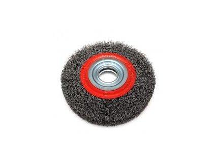 Brúsny kefový kotúč 125 mm s redukciami, miskový, oceľový