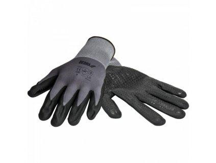 Ochranné rukavice nitrilové, bodkované