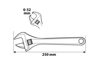 Nastaviteľný kľúč 250 mm, rozsah 0-32 mm | NEO 03-029