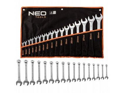 Ploché-očkové kľúče 8-32 mm, súprava 17 ks   NEO 09-753