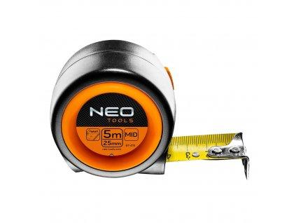 Zvinovacie oceľové meradlo 5 m x 25 mm, automatická blokáda zvínania pásky