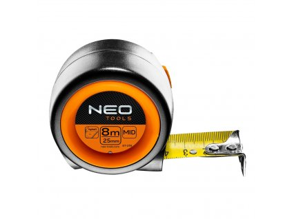 Zvinovacie oceľové meradlo 8 m x 25 mm, automatická blokáda zvínania pásky   NEO 67-218