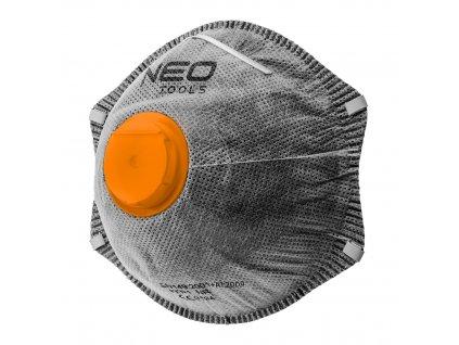 Polomaska s aktívnym prachu FFP2 uhlíka s ventilom, 3 ks.