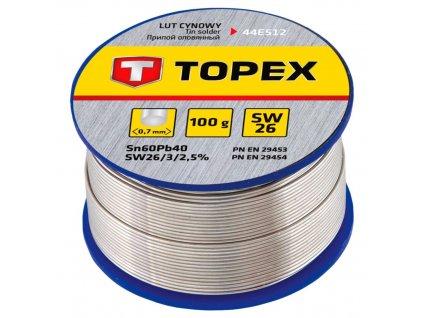 Cínová spájka, 60% Sn, 0,7 mm priem., 100 g | TOPEX 44E512
