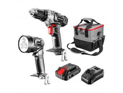 Súprava akumulátorového elektrického náradia: vŕtací skrutkovač, svietidlo, taška, akumulátor Energy+ 18V, Li-Ion 2,0Ah, nabíjačka