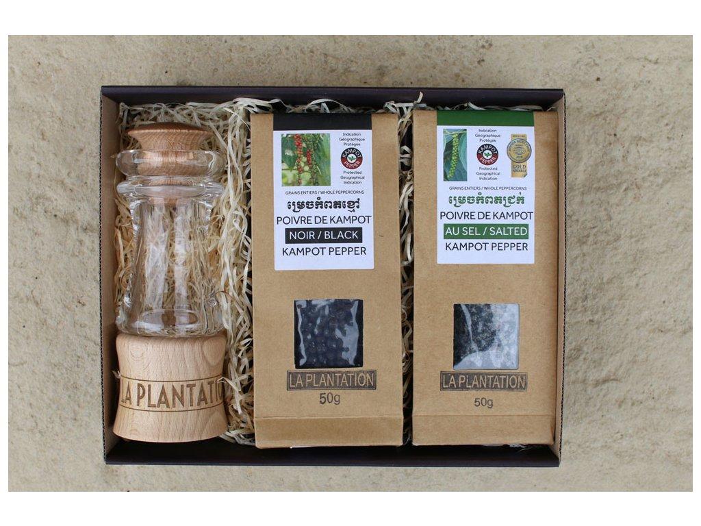 Sada mlýnek La Plantation + černý a fermentovaný Kampotský pepř