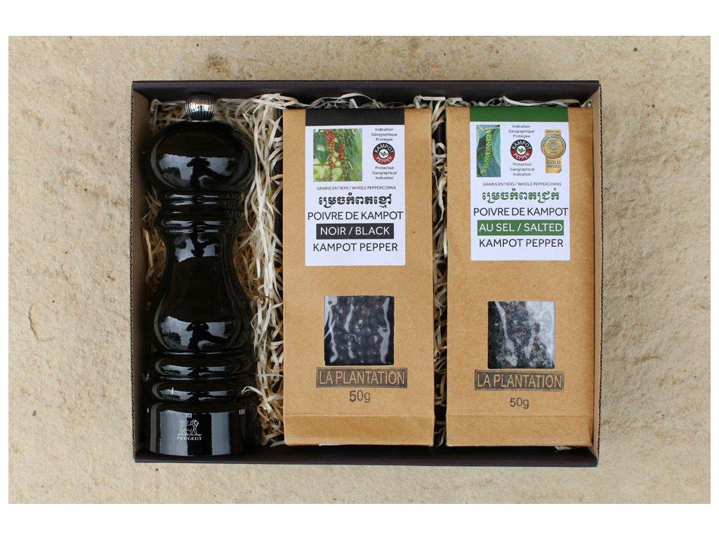 Sada Peugeot Paris černý + černý a fermentovaný Kampotský pepř