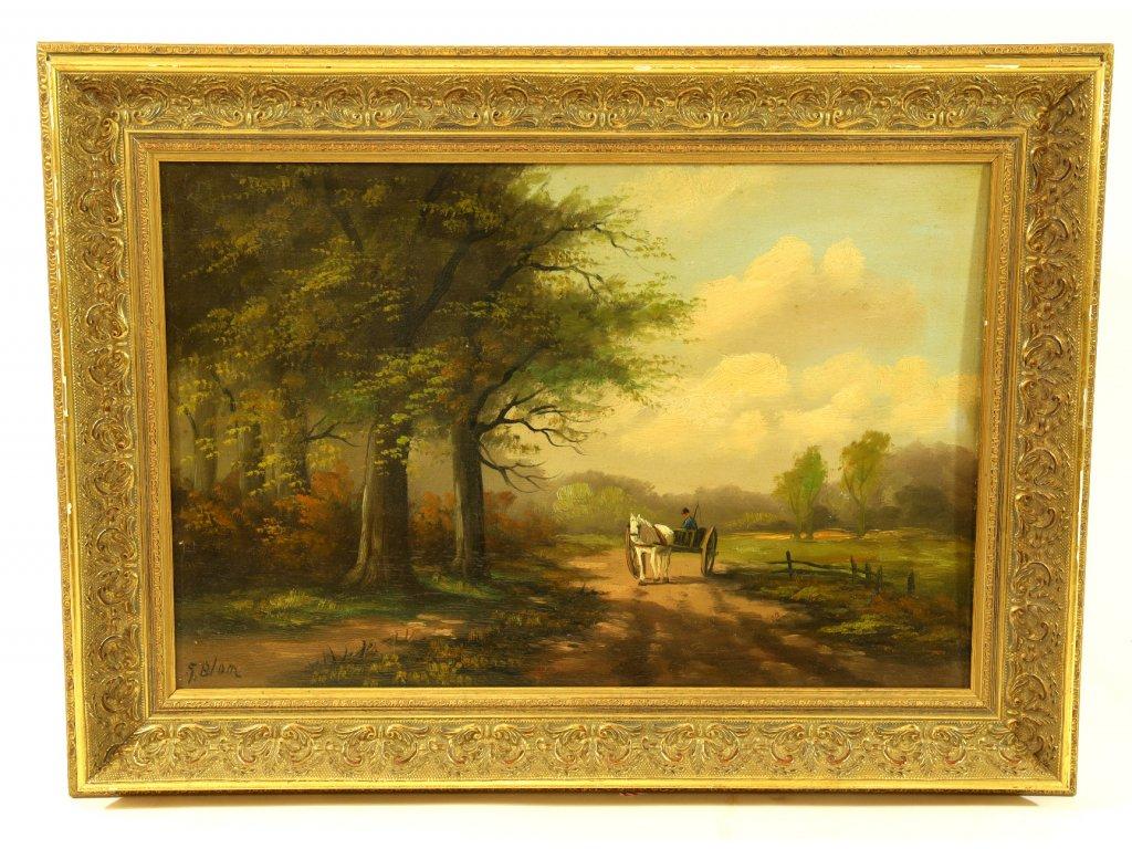 Obraz, koňský povoz v krajině.