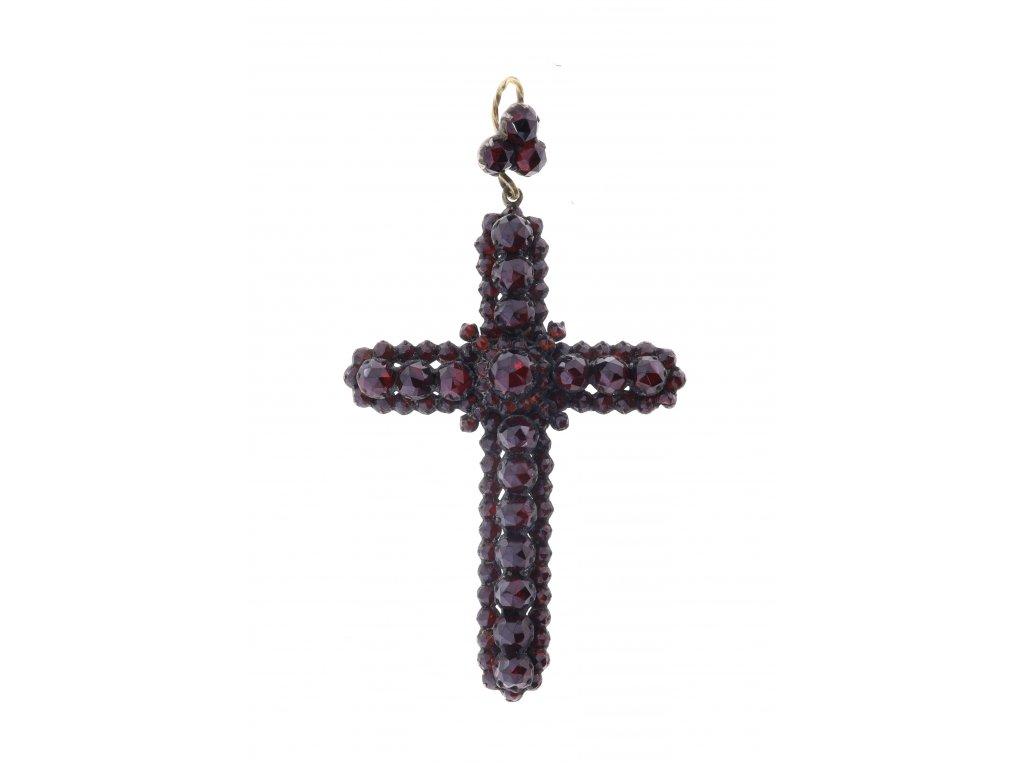 Kříž z českých granátů v tombaku