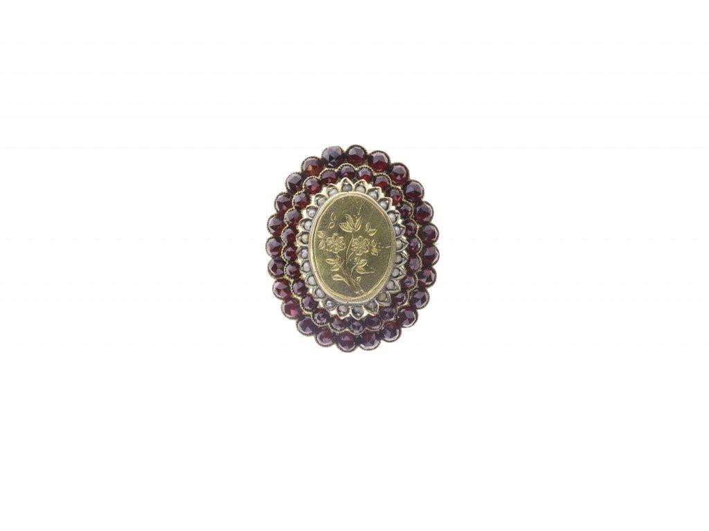 Brož s granáty a s perličkami