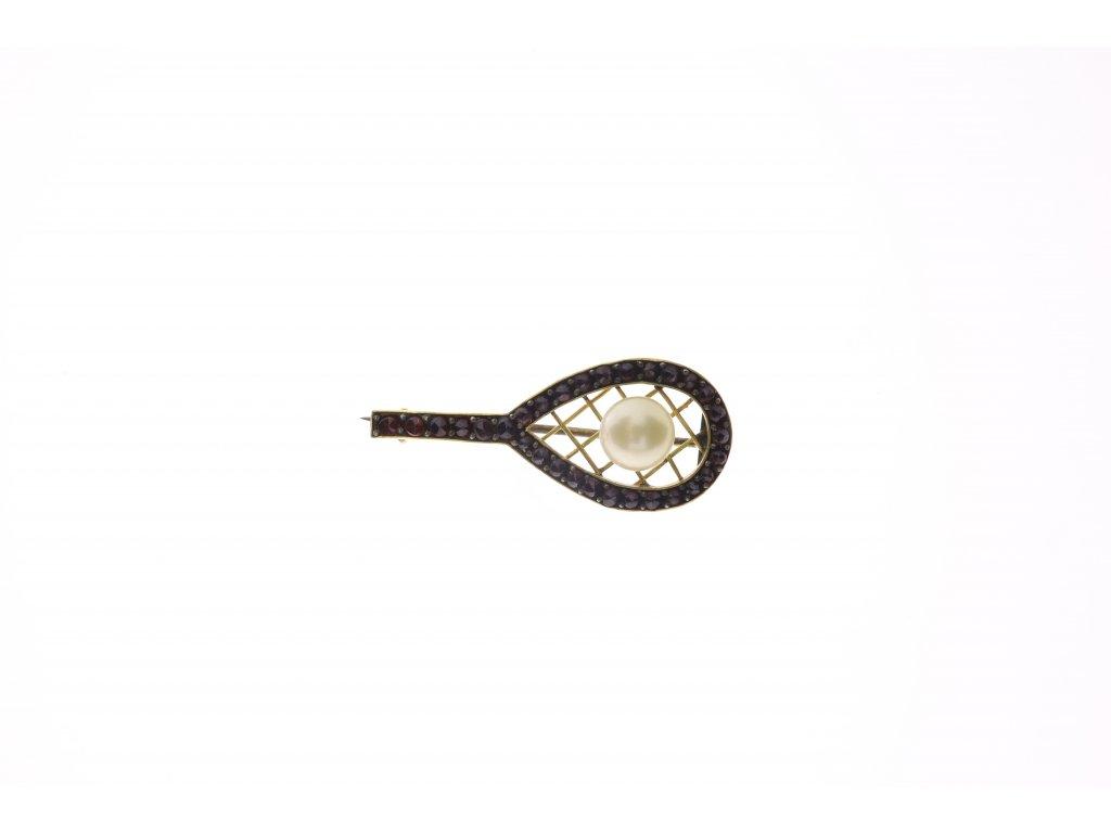 Brož z obecného kovu ve tvaru tenisové rakety