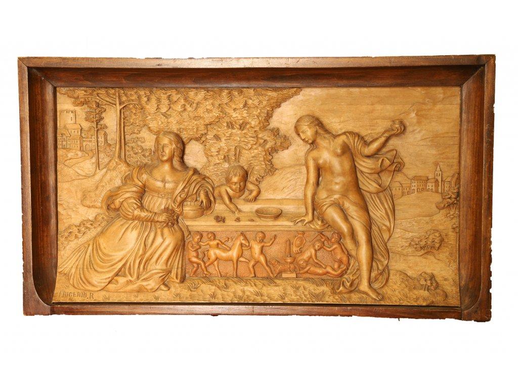 Dřevění reliéf - Italie 19.století